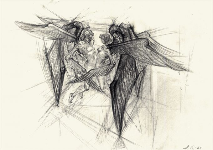 The cherubim whose bodies were intertwined (Lead pencil on paper 42/30)